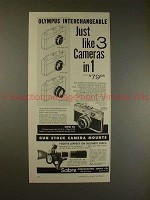 1960 Olympus Ace Camera Ad - Interchangeable, 3 in 1!!