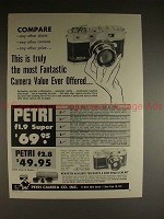 1959 Petri f1.9 Super & f2.8 Camera Ad - Fantastic!!
