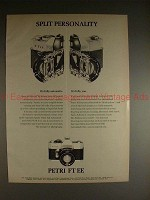 1971 Petri FT EE SLR Camera Ad - Split Personality!!