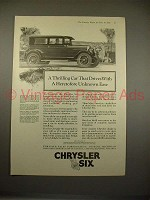 1925 Chrysler Six Car Ad - Thrilling Drives With Ease!