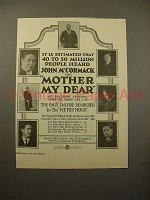 1926 Mother My Dear Record Ad - John McCormack