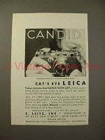 1935 Leica Model F Camera Ad - Candid, Cat's Eye