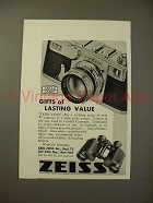 1936 Zeiss Contax Camera, Binoculars Ad - Value!
