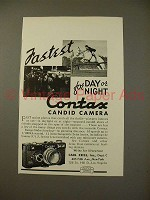 1936 Zeiss Contax Camera Ad - Fastest Day or Night!