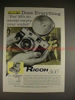 1958 Ricoh 300 Camera Ad - Does Everything Pro 35's Do!
