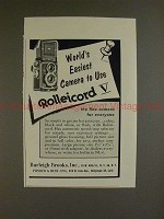 1955 Rollei Rolleicord V Camera Ad - Easiest to Use!!
