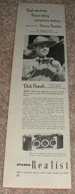 1950 Stereo Realist Camera Ad, with Dick Powell NICE!!