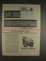 1961 Beseler C Topcon Camera Ad - Documents Sharpness!!