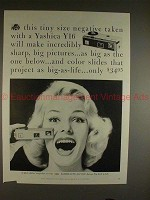 1959 Yashica Y16 Camera Ad - Tiny Size Negative!!