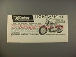 1949 Mustang Motorcycle Ad - Lightweight!