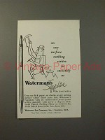 1955 Waterman's Sapphire Pen Ad - Any Surface!