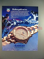 1989 Tag Heuer Sports Elegance Watch Ad - Gold on Ice!