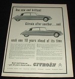 1958 Citroen I.D.19 & D.S.19 Car Ad, One After Another!