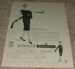 1958 Renault Dauphine Car Ad, Madeleine de Rauch Dress!