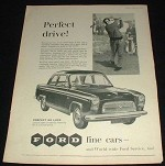 1958 Ford Prefect DeLuxe Car Ad, Perfect Drive - Golf!!