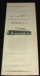 1958 Rover 2 Litre 60 Car Ad, Most Economical of All!!