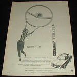 1959 Renault Dauphine Car Ad, Take The Wheel NICE!!