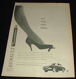 1959 Renault Dauphine Car Ad, Put Your Foot Down!!