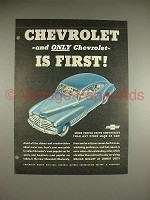 1948 Chevy Car Ad - Chevrolet is First!