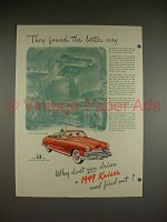 1949 Kaiser Convertible Car Ad w/ Liberty Ships!