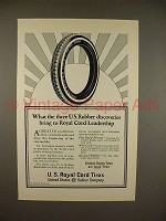 1923 U.S. Royal Cord Tire Ad - Three Discoveries!