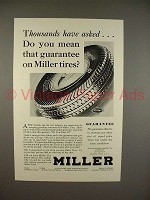 1930 Miller Tire Ad - Thousands Have Asked!