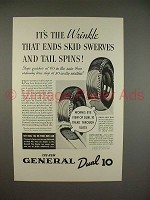 1936 General Dual 10 Tire Ad - It's The Wrinkle!
