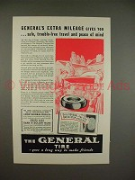 1938 General Dual 8 Tire Ad - Extra Mileage!