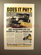 1936 Goodrich Safety Silvertown Tire Ad - Does it Pay?