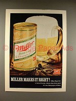 1970 Miller High Life Beer Ad