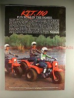 1984 Kawasaki KLT110 3-Wheeler ATV Ad, Runs in Family!