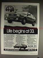 1984 Alfa Romeo Alfa 33 Car Ad - Life begins at 33!!