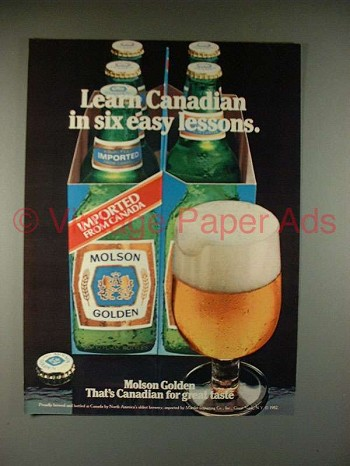 1982 Molson Golden Beer Ad - Six Easy Lessons