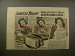1940 Lux Soap Ad w/ Loretta Young, Active-Lather Facial