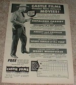 1950 Hopalong Cassidy Castle Films Ad, Greater Movies!