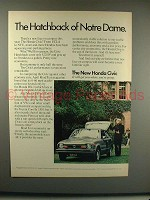 1973 Honda Civic Car Ad - Hatchback of Notre Dame!