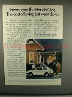 1973 Honda Civic Car Ad - Cost Of Loving Went Down!