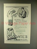1923 Colgate's Shaving Stick Ad - Like New Battery