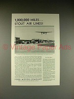 1930 Ford Plane Ad - 1,000,000 Miles, Stout Air Lines