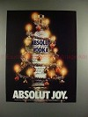 1989 Absolut Vodka Ad - Absolut Joy - Christmas Tree!!