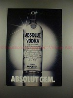 1982 Absolut Vodka Ad - Absolut Gem - NICE!!