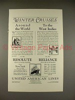 1925 United American Lines Ad - Resolute, Reliance