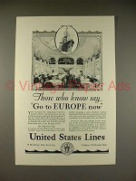 1928 United States Lines Cruise Ad - Europe!