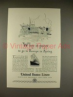 1929 United States Lines Cruise Ad - Why it Pays!