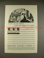 1930 United States Lines Ad - When You Go Abroad