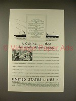 1930 United States Lines Ad - A Cuisine!