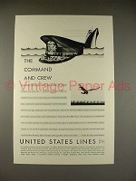 1930 United States Lines Ad - Command and Crew