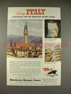 1949 American Export Lines Cruise Ship Ad - Sunny Italy