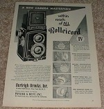 1953 Rollei Rolleicord IV Camera Ad - Masterpiece!!