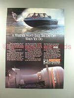 1986 Mariner Outboard Motor Ad - Won't Take Day Off